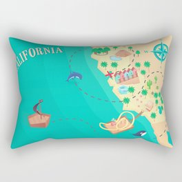 California Treasure Map Rectangular Pillow