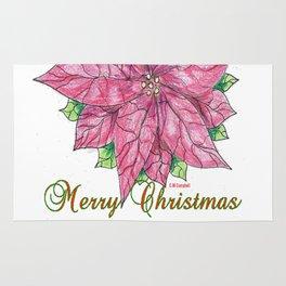 Merry Christmas Poinsettia Rug
