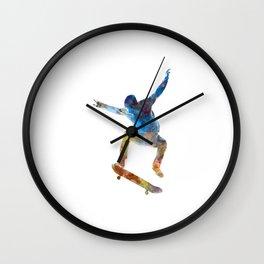 Man skateboard 01 in watercolor Wall Clock