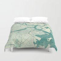 boston Duvet Covers featuring Boston Map Blue Vintage by City Art Posters