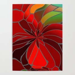 Abstract Poinsettia Poster
