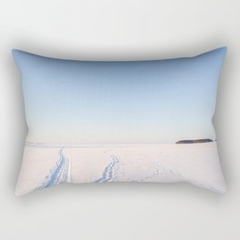 Footsteps in Snow on Lake Ice Rectangular Pillow