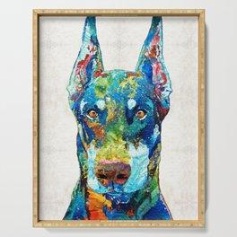 Colorful Doberman Pinscher Dog - Sharon Cummings Serving Tray