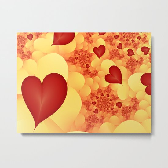 Love lets fly the Hearts Fractal Metal Print