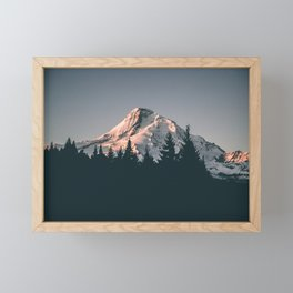First Light on Mount Hood Framed Mini Art Print