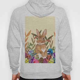 Bunny in garden with colored Easter eggs Hoody