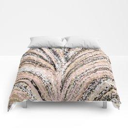 Rose Gold and Glitter Brushstroke Bursts Comforters