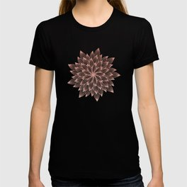 Mandala Flowery Rose Gold on White T-shirt