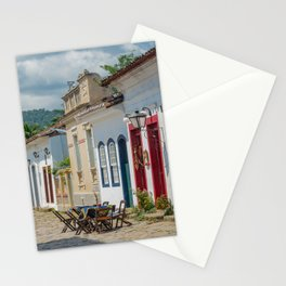 Urban landscape with colorful houses and cobbled pavements in Paraty, Rio de Janeiro, Brazil. Stationery Cards