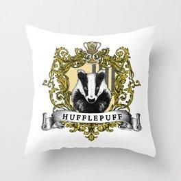 Hufflepuff Color Crest Throw Pillow