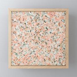 Coral black white elegant abstract marble Framed Mini Art Print