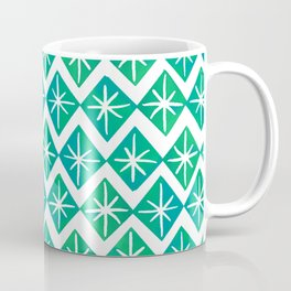 Mid Century Starry Pattern - Blue and Green Palette Coffee Mug