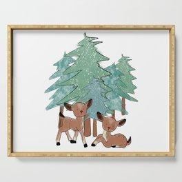 Little Deers In A Winter Landscape Serving Tray