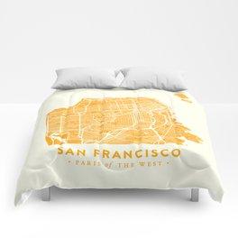 San Francisco City Map 03 Comforters