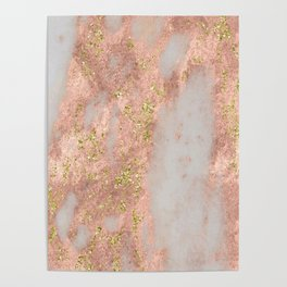 Rose Gold Marble with Yellow Gold Glitter Poster