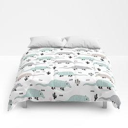 Cool western cactus desert Armadillo Animals illustration pattern Comforters