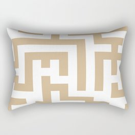 White and Tan Brown Labyrinth Rectangular Pillow