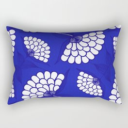 African Floral Motif on Royal Blue Rectangular Pillow