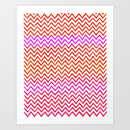 Fuschia - Chevron Art Print