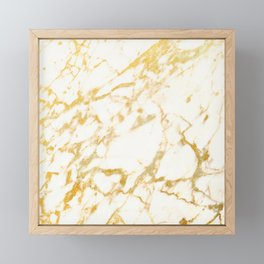 Ivory White Marble With Gold Glitter Ribboned Veins Framed Mini Art Print