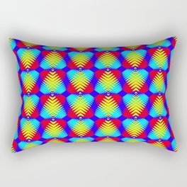 Pattern of blue hearts from the sky stripes on a red background in a bright intersection. Rectangular Pillow