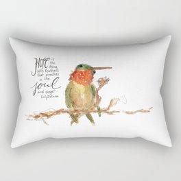"""Emily Dickinson """"Hope"""" Hummingbird Rectangular Pillow"""