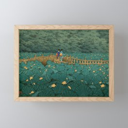 Vintage Japanese Woodblock Print Kawase Hasui Japanese Children Lotus Flowers Garden Wooden Bridge Framed Mini Art Print