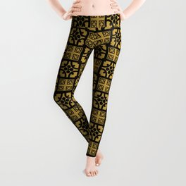 Traditional Yellow English Tudor Half-timbered House Pattern Leggings