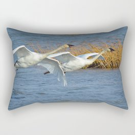 Swan Pair In Flight Rectangular Pillow