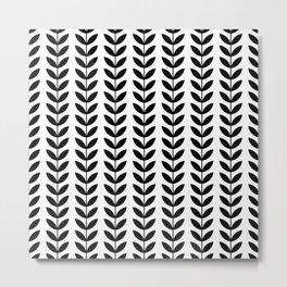 Black Scandinavian leaves pattern Metal Print
