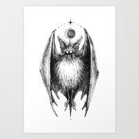 bat Art Prints featuring Bat by Ulla Thynell