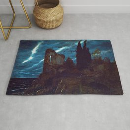 Twilight of the Abandoned Isles landscape painting by Arnold Bocklin Rug