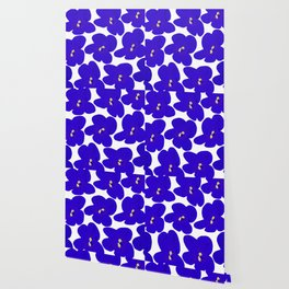 Blue Retro Flowers #decor #society6 #buyart Wallpaper