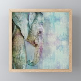 Gentle Blue Grunge Paint Elephant Digital Art Framed Mini Art Print