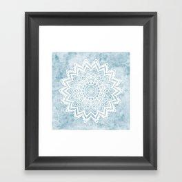 LIGHT BLUE MANDALA SAVANAH Framed Art Print