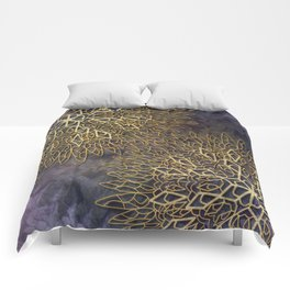 Gold Mandalas on Violet Background Comforters