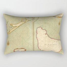 Vintage Map of Bermuda & Barbados (1707) Rectangular Pillow