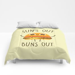 Sun's Out, Buns Out, Funny, Cute, Quote Comforters