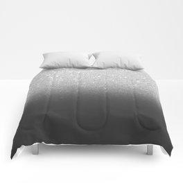 Modern faux silver glitter ombre grey black color block Comforters