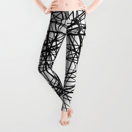 Geometric Collision - Abstract black and white Leggings