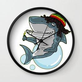 Funny Reggae Shark graphic Gift Rastafari Shark print Gift Wall Clock
