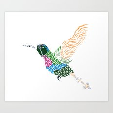 Abstract Hummingbird ~ Garnet-throated Variant Art Print