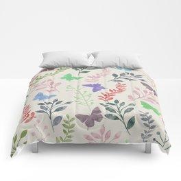 Watercolor flowers & butterflies Comforters