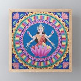 Goddess Lakshmi Lotus Mandala Framed Mini Art Print