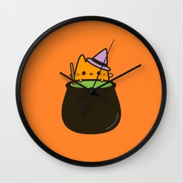 Cat bat with cauldron Wall Clock