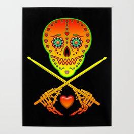 Neon Sugar Skull Drummer. Poster