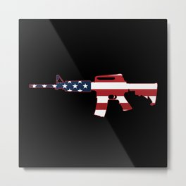 AR-15 Stars & Stripes Rifle Metal Print