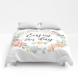 Romantic wreath Enjoy this day Comforters