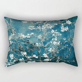 Van Gogh Almond Blossoms : Dark Teal Rectangular Pillow