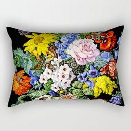 Floral Still Life with Pomegrenate by Sebastian Wegmayr - Vintage Painting Rectangular Pillow